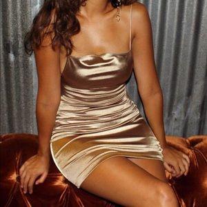 Motel Rocks Kozue Gold Satin Dress